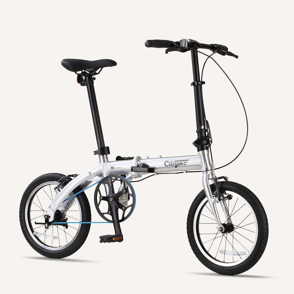 "ROME Citizen Bike 16"" 1-speed Ultra-Light Folding Bike with Belt Drive"